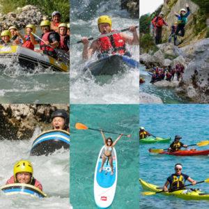 Un aperçu des activités proposées par Aquarêve : Rafting, Canyoning, Kayak-Raft, Hydrospeed, Kayake de mer et Stand up paddle.